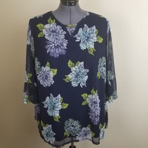 Catherines Blue Mesh Floral Popover Top Size 2X
